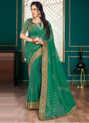 Rupali Ganguly Green Organza Traditional Designer Saree