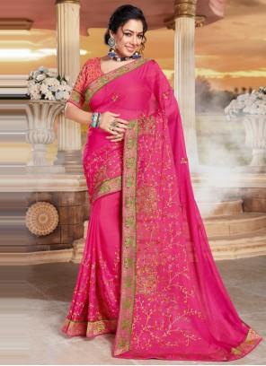 Rupali Ganguly Hot Pink Organza Designer Saree