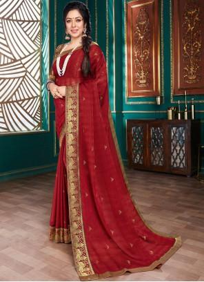 Rupali Ganguly Maroon Festival Traditional Designer Saree
