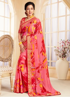 Rupali Ganguly Multi Colour Faux Chiffon Printed Saree