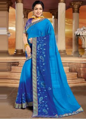 Rupali Ganguly Organza Blue Patch Border Designer Saree