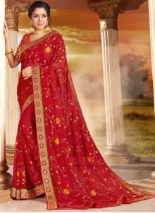 Rupali Ganguly Organza Patch Border Red Designer Saree