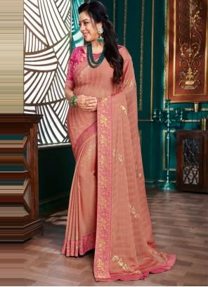 Rupali Ganguly Organza Pink Traditional Saree
