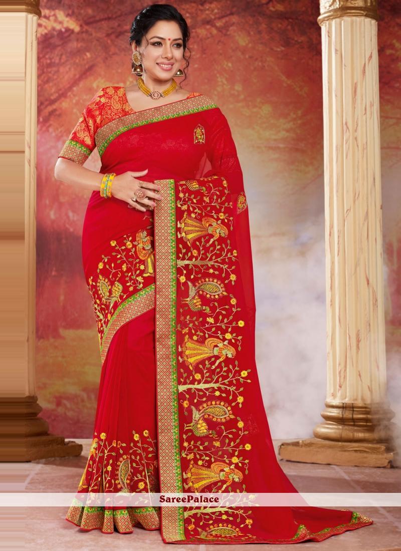 Rupali Ganguly Organza Red Patch Border Designer Saree