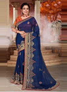 Blue Rupali Ganguly Organza Sangeet Designer Saree