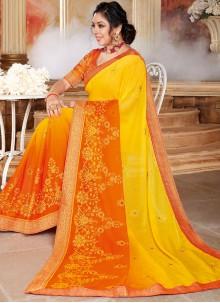 Rupali Ganguly Patch Border Orange and Yellow Shaded Saree
