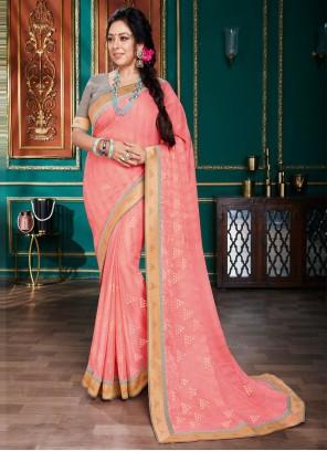 Rupali Ganguly Pink Organza Classic Designer Saree