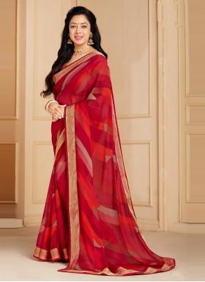 Rupali Ganguly Red Abstract Print Faux Chiffon Printed Saree
