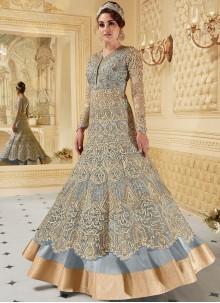 Ruritanian Fancy Fabric Blue Resham Work Floor Length Anarkali Suit