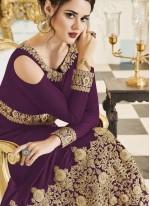 Ruritanian Faux Georgette Purple Embroidered Work Floor Length Anarkali Suit
