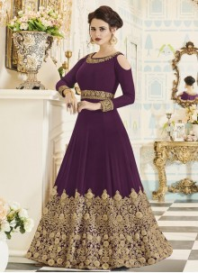 Ruritanian Faux Georgette Purple Embroidered Work Floor Length Anarkali Suit