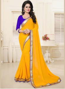 Ruritanian Faux Georgette Yellow Lace Work Casual Saree