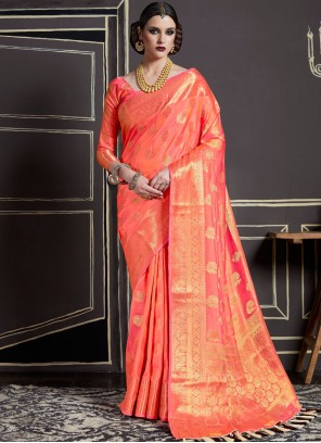 Ruritanian Peach Designer Traditional Saree