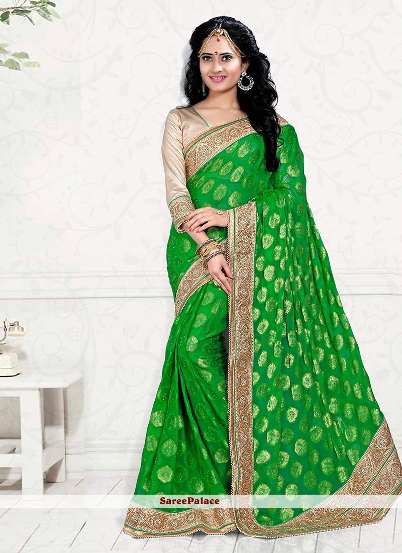 Ruritanian Viscose Green Zari Work Classic Designer Saree