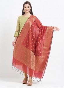 Rust Art Banarasi Silk Designer Dupatta