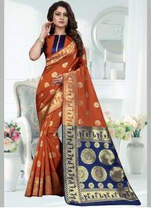 Rust Art Silk Designer Traditional Saree