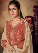 Rust Embroidered Festival Designer Palazzo Suit