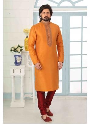 Rust Engagement Art Banarasi Silk Kurta Pyjama