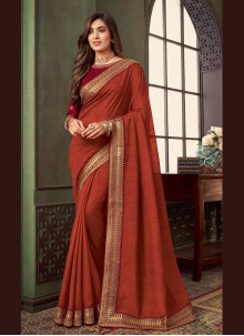 Rust Fancy Fabric Trendy Saree