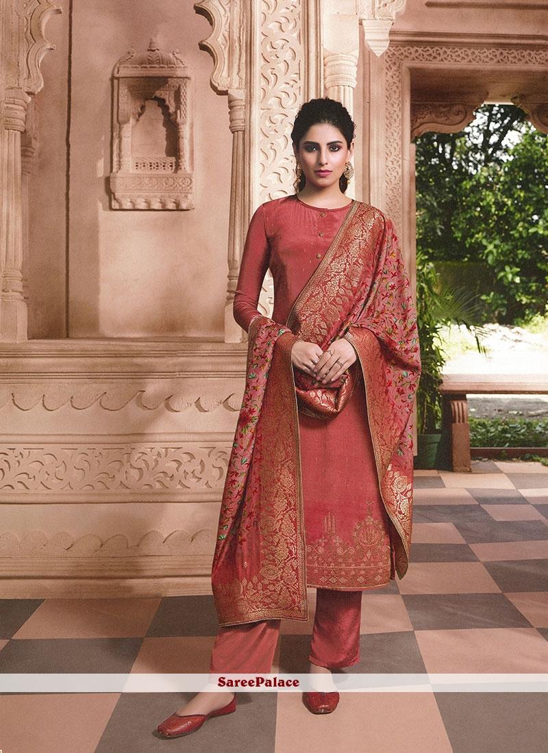 Rust Faux Crepe Designer Patila Salwar Suit