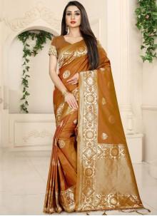 Rust Festival Banarasi Silk Classic Saree