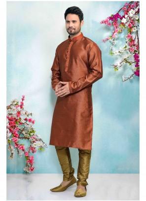 Rust Jacquard Silk Sangeet Kurta Pyjama