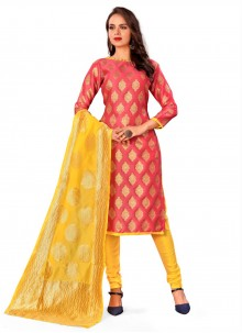 Rust Jacquard Work Banarasi Silk Churidar Designer Suit