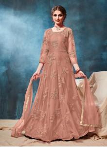 Rust Net Anarkali Salwar Suit