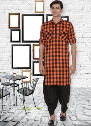 Rust Patchwork Sangeet Kurta Pyjama
