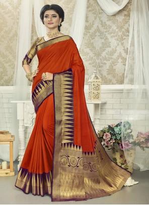 Rust Weaving Zari Silk Saree