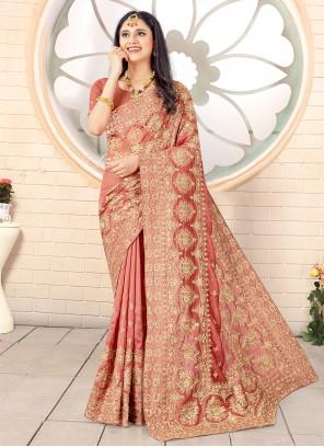 Salmon Embroidered Vichitra Silk Designer Traditional Saree
