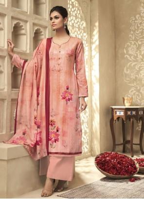 Salmon Satin Silk Embroidered Designer Palazzo Suit