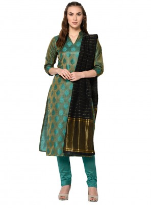Salwar Kameez Abstract Print Cotton in Green