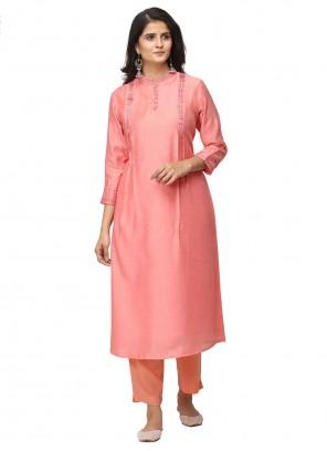 Salwar Kameez Embroidered Art Silk in Pink