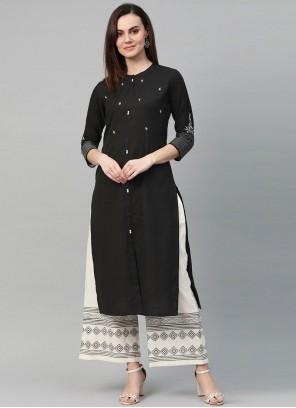 Salwar Kameez Embroidered Cotton in Black