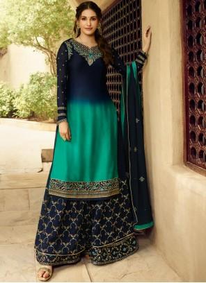 Salwar Kameez Embroidered Georgette in Blue
