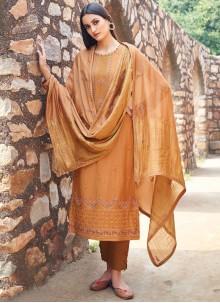 Salwar Kameez Embroidered Muslin in Orange