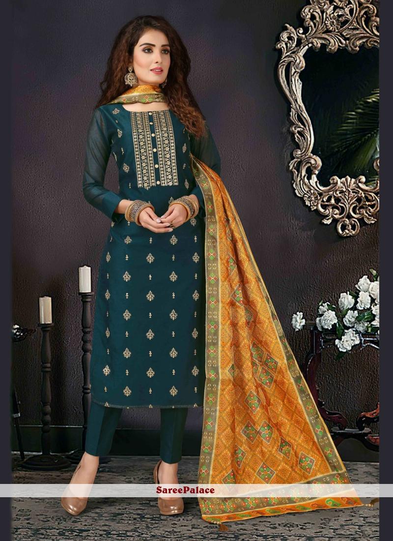 Salwar Kameez Embroidered Silk in Teal