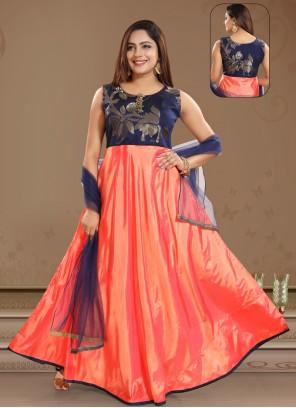 Salwar Kameez Patchwork Art Silk in Peach