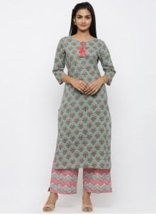 Salwar Kameez Printed Cotton in Teal
