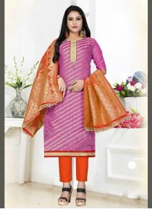 Salwar Kameez Woven Art Silk in Pink