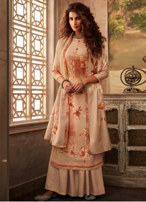 Salwar Suit Digital Print Pashmina in Beige