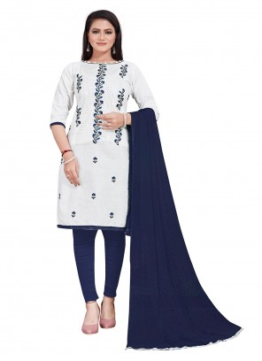 Salwar Suit Embroidered Cotton in White