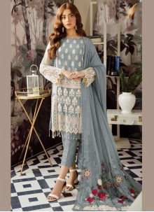 Salwar Suit Embroidered Georgette in Grey