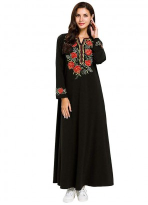 Salwar Suit Embroidered Rayon in Black