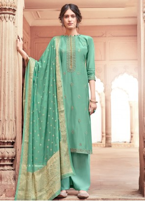 Salwar Suit Embroidered Viscose in Teal