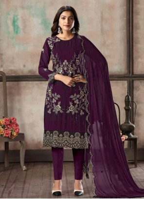 Purple Georgette Salwar Suit For Festival