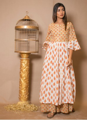 Off White Cotton Salwar Suit For Party