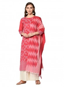 Salwar Suit Print Cotton in Pink