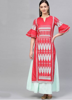Salwar Suit Print Cotton in Red